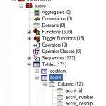 Liste des tables d'une base PostgreSQL dans PGADMIN III
