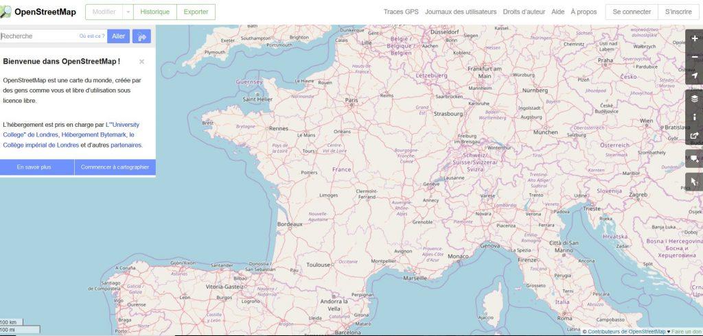 Capture d'écran du rendu cartographique d'OpenStreetMap (OSM)