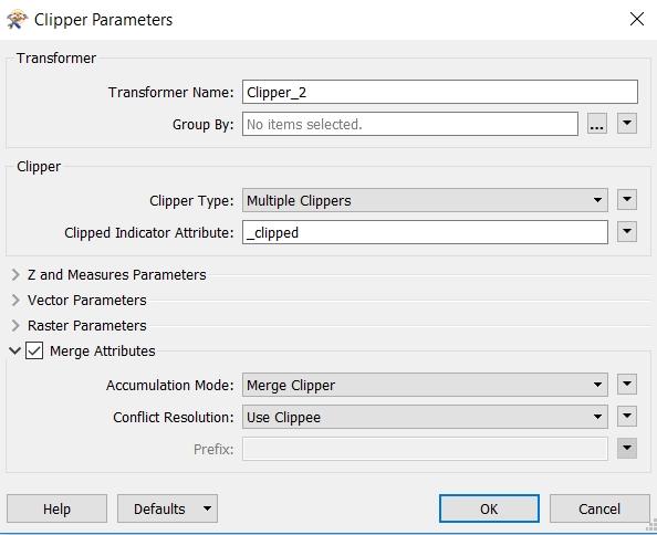 Paramètres du transformer FME Clipper avec Merge Attributes de coché