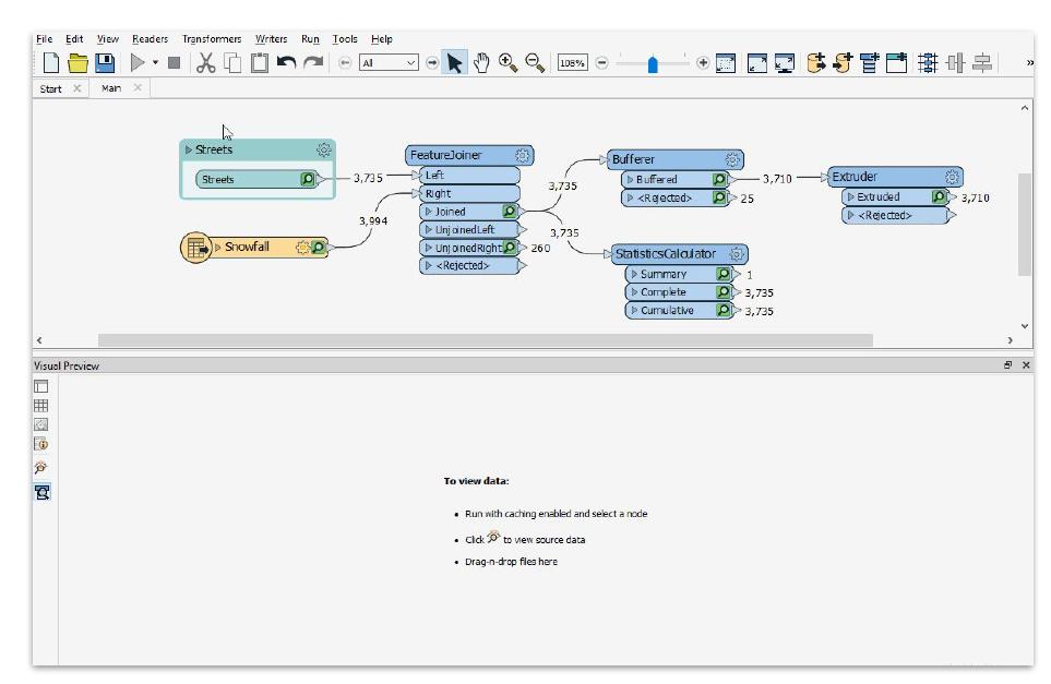 FME, visualisation des données en cache depuis Workbench, FME 2019