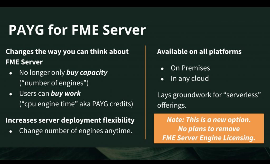 PAYG for fme server