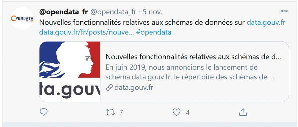 Tweet du compte @opendata_fr mettant en avant le besoin de mettre en place des schémas pour améliorer la qualité des données.